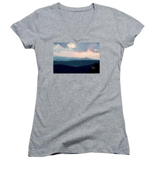 Women's V-Neck T-Shirt (Junior Cut) featuring the photograph Blue Ridge Mountain Sunset by Meta Gatschenberger