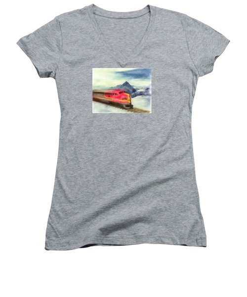 Mountain Train Women's V-Neck T-Shirt (Junior Cut) by Michael Cleere