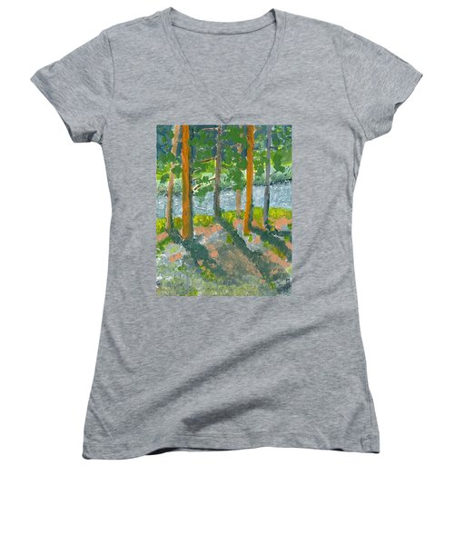 Mountain Valley Women's V-Neck T-Shirt (Junior Cut) by Rodger Ellingson