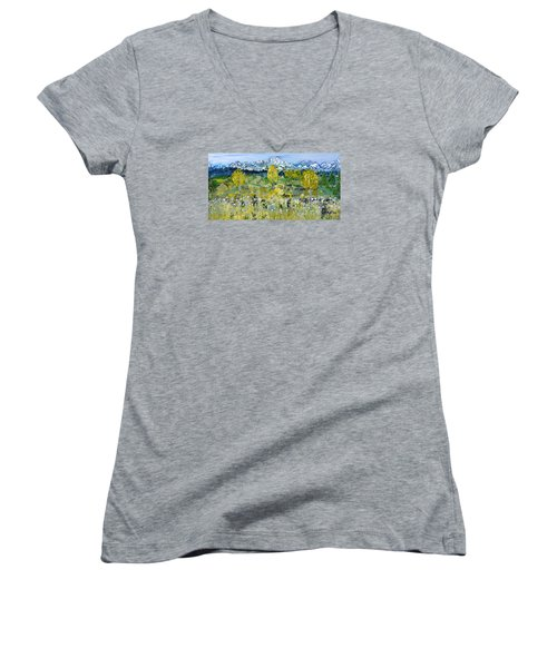 Women's V-Neck T-Shirt (Junior Cut) featuring the painting Mountain View by Evelina Popilian