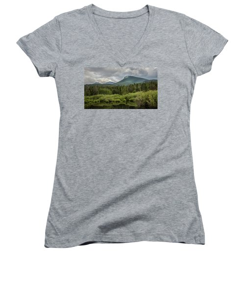 Mountain View From The Marsh Women's V-Neck