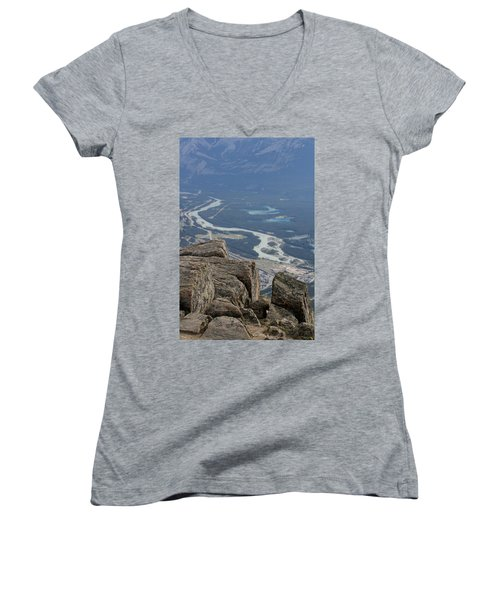 Women's V-Neck T-Shirt (Junior Cut) featuring the photograph Mountain View by Mary Mikawoz