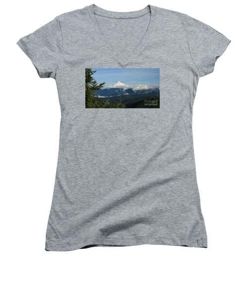 Mountain View Women's V-Neck T-Shirt (Junior Cut) by Sheila Ping