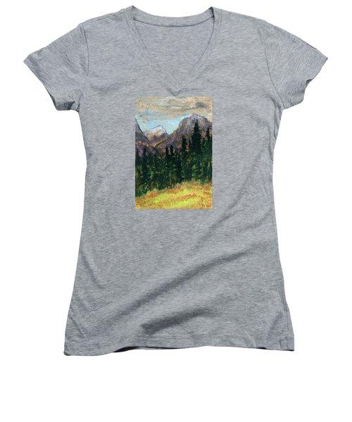 Mountain Vista Women's V-Neck T-Shirt (Junior Cut) by R Kyllo