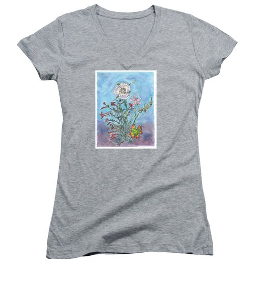 Women's V-Neck T-Shirt (Junior Cut) featuring the painting Mountain Wildflowers II by Dawn Senior-Trask