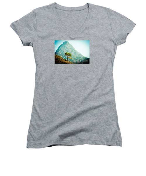 Mountain With Pine Artmif.lv Women's V-Neck