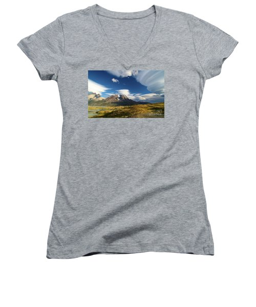 Mountains And Clouds In Patagonia Women's V-Neck (Athletic Fit)