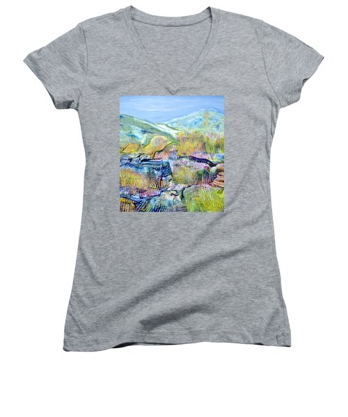Mountains And Marsh Women's V-Neck T-Shirt (Junior Cut) by Regina Valluzzi