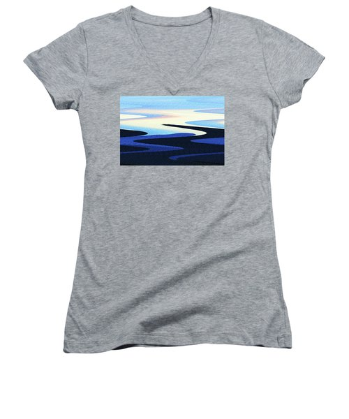 Mountains And Sky Abstract Women's V-Neck T-Shirt (Junior Cut) by Tom Janca