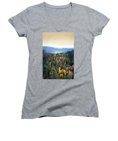 Mountains And Valley Women's V-Neck T-Shirt (Junior Cut) by Jill Battaglia