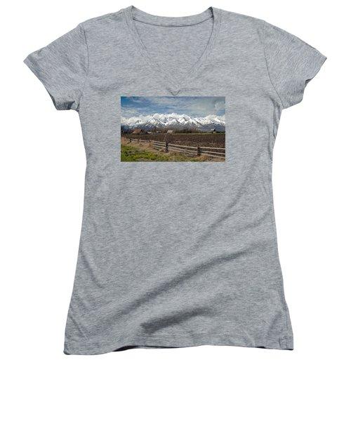 Mountains In Logan Utah Women's V-Neck (Athletic Fit)