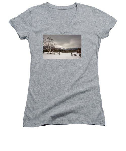 Mountains In Winter Women's V-Neck (Athletic Fit)
