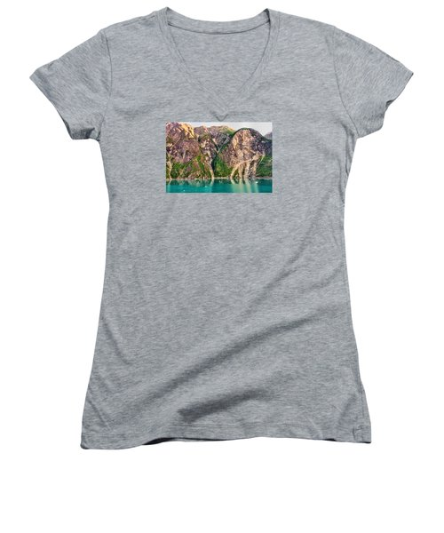 Mountains Of The Fjord Women's V-Neck T-Shirt (Junior Cut) by Lewis Mann