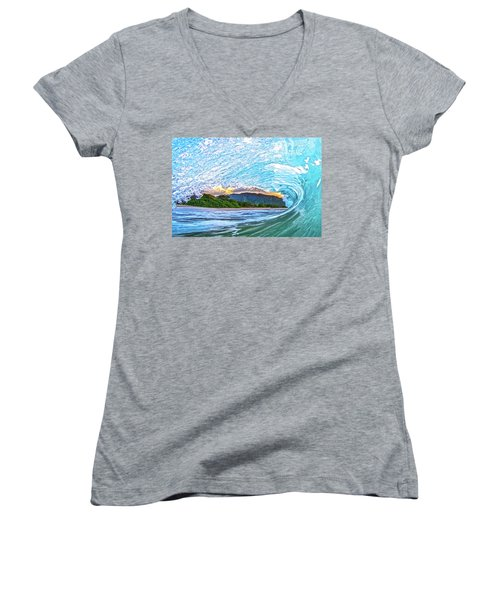 Mountains To The Sea Women's V-Neck T-Shirt (Junior Cut) by James Roemmling