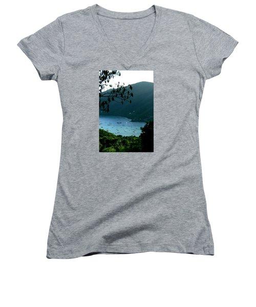 Mountainside Coral Bay Women's V-Neck T-Shirt (Junior Cut) by Robert Nickologianis