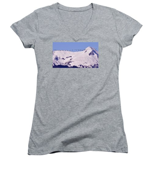 Mountaintop Geese II Women's V-Neck T-Shirt
