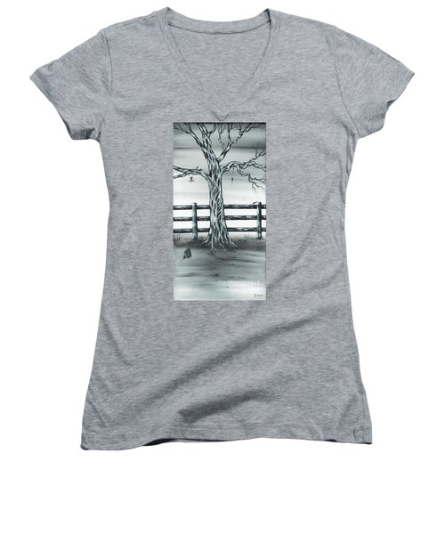 Women's V-Neck T-Shirt (Junior Cut) featuring the painting Mouse House by Kenneth Clarke