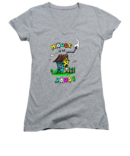 Women's V-Neck T-Shirt (Junior Cut) featuring the drawing Mouse In Da House by Kim Gauge