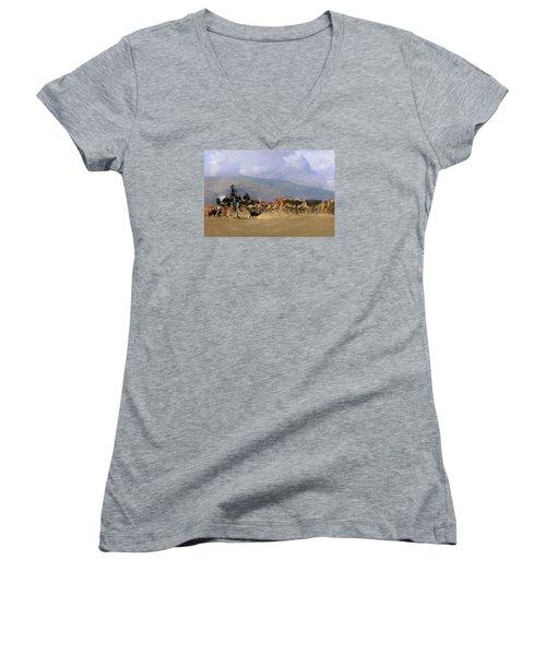 Move Em Out Women's V-Neck T-Shirt (Junior Cut) by Ed Hall