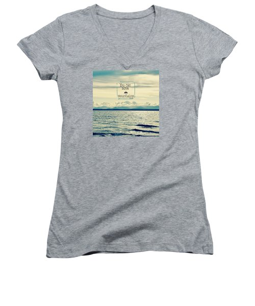 Women's V-Neck T-Shirt (Junior Cut) featuring the photograph Move Mountains by Robin Dickinson