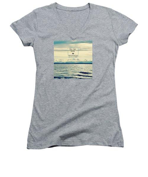Move Mountains Women's V-Neck T-Shirt