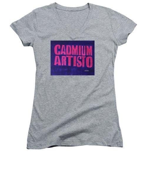 Movie Logo Cadmium Artisto Women's V-Neck T-Shirt (Junior Cut) by Joshua Maddison