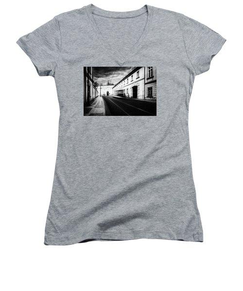 Street Tram Women's V-Neck T-Shirt (Junior Cut) by M G Whittingham