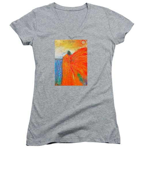 Mprints - Angel Of The Morning Women's V-Neck T-Shirt (Junior Cut) by M Stuart