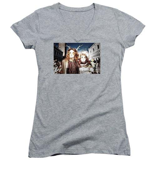 Mr And Mrs Deer Bypass Women's V-Neck T-Shirt (Junior Cut) by Jack Torcello