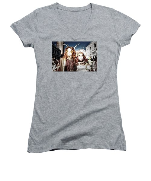 Mr And Mrs Deer Bypass Women's V-Neck T-Shirt