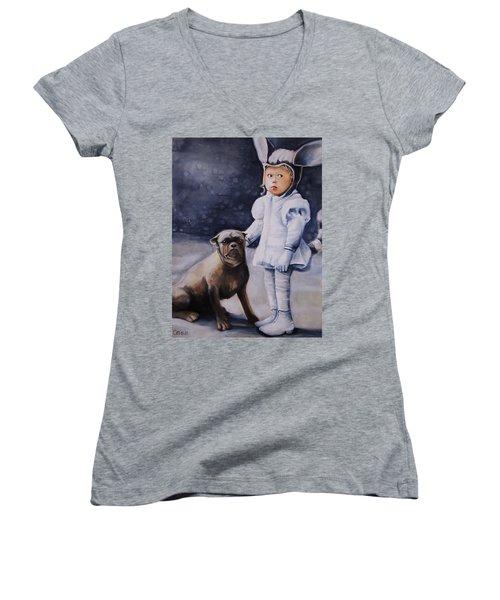 Mr Moonbeams  Women's V-Neck T-Shirt (Junior Cut) by Jean Cormier