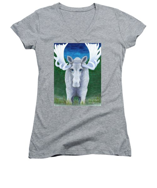 Women's V-Neck T-Shirt (Junior Cut) featuring the painting Mr. Moose by Rebecca Parker