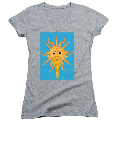 Mr. Sunface Women's V-Neck T-Shirt