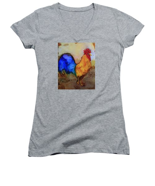 Mr.rooster Women's V-Neck T-Shirt (Junior Cut) by Suzanne Canner