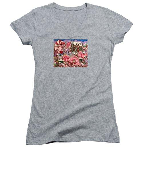 Ms. Elizabeth Peppermint World Women's V-Neck T-Shirt (Junior Cut)