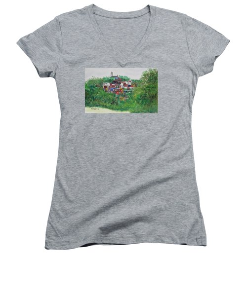 Women's V-Neck T-Shirt (Junior Cut) featuring the painting Mt. Adams  Cincinnati Ohio by Diane Pape