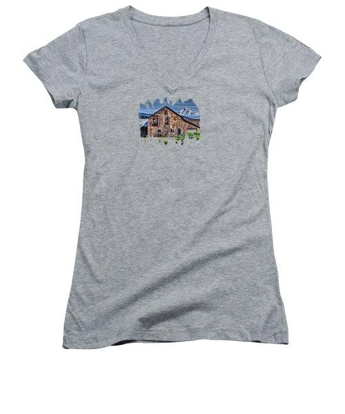 Mt. Adams Women's V-Neck T-Shirt (Junior Cut) by Thom Zehrfeld
