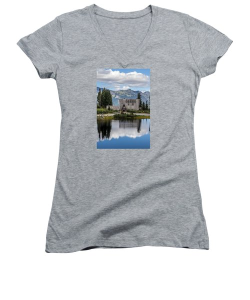 Mt Baker Lodge Reflecting In Picture Lake 3 Women's V-Neck