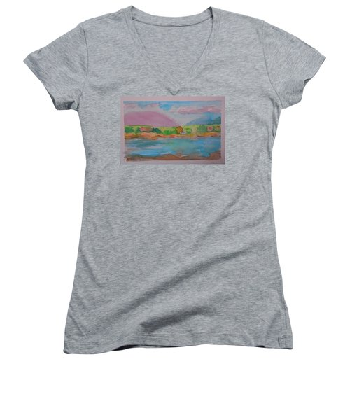 Women's V-Neck T-Shirt (Junior Cut) featuring the painting Mt Desert From Marlboro Beach by Francine Frank