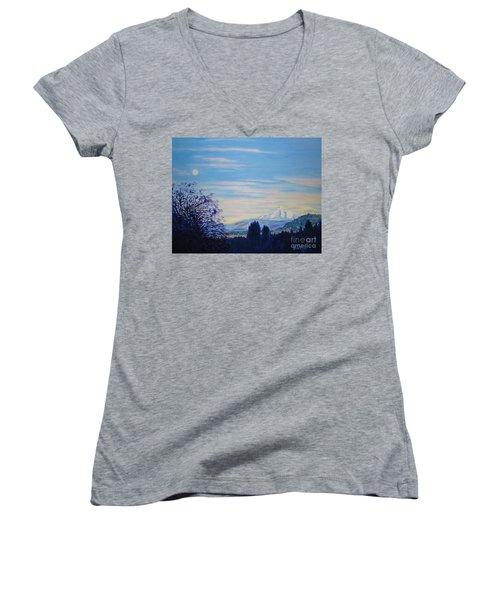 Mt Hood A View From Gresham Women's V-Neck T-Shirt (Junior Cut) by Lisa Rose Musselwhite