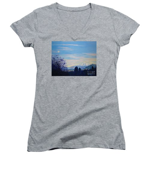 Mt Hood A View From Gresham Women's V-Neck T-Shirt