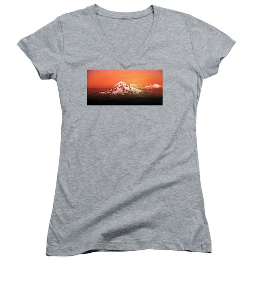 Oregon Women's V-Neck T-Shirt (Junior Cut) featuring the photograph Mt Hood Oregon Sunset by Aaron Berg