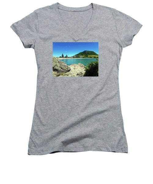 Mt Maunganui Beach 13 - Tauranga New Zealand Women's V-Neck