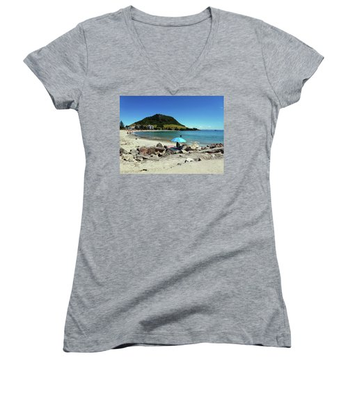 Mt Maunganui Beach 5 - Tauranga New Zealand Women's V-Neck