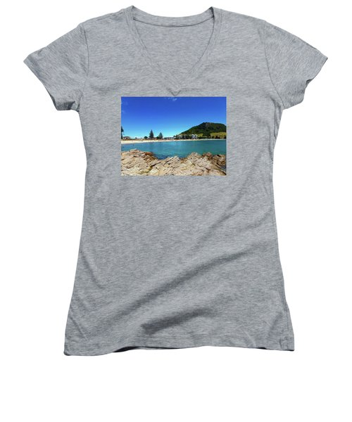 Mt Maunganui Beach 9 - Tauranga New Zealand Women's V-Neck