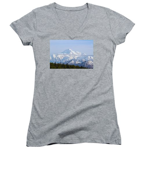 Denali Cloud Line Women's V-Neck T-Shirt (Junior Cut) by Allan Levin
