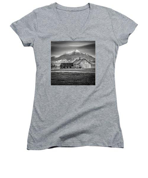 Mt Pilchuck Women's V-Neck T-Shirt (Junior Cut) by Tony Locke