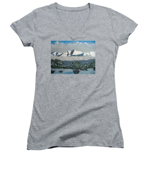 Women's V-Neck T-Shirt (Junior Cut) featuring the painting Mt Princeton Co by Norm Starks