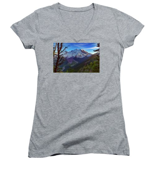 Mt Rainier At Emmons Glacier Women's V-Neck (Athletic Fit)