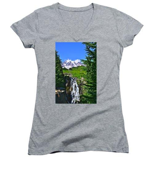 Mt. Rainier From Myrtle Falls Women's V-Neck